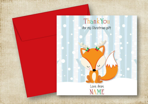 PERSONALISED WINTER FOX WITH ANTLERS CHRISTMAS GIFTS PRESENTS THANK YOU CARD