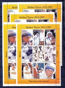 Details about BHUTAN 97'Mother Teresa Lady Diana Pope John Paul Religion  Sheet x 5 MNH DAB 687