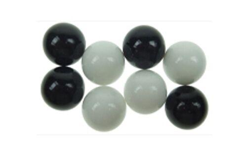 **NEU** Brändi Dog Schweiz 8 Murmeln schwarz weiß Spielsteine Ersatz Brandi OVP
