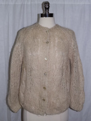 Classy Vtg 1950s NEUTRAL Ivory Tan HAND MADE CABLE