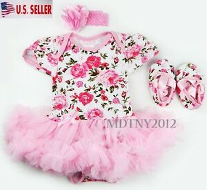 e88480dd1041 Newborn Infant Baby Girl Romper Tutu Dress Sets 3Pcs Outfits Clothes ...