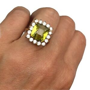 Burle-Marx-18K-Yellow-Gold-Cushion-Green-Chrysoberyl-Diamond-Halo-Cocktail-Ring