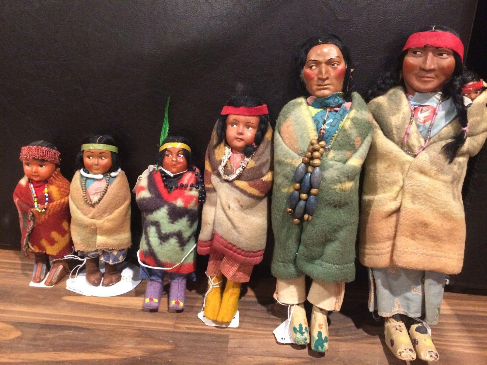 5 Vintage Skookum 12  11.5  9  7  7  6.5  Alto Muñecas Indio Nativo Americano  ver