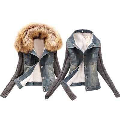 sports shoes fd0ce 04df0 Damen Hoodie Denim Jeansjacke Kapuze Felljacke Warm ...