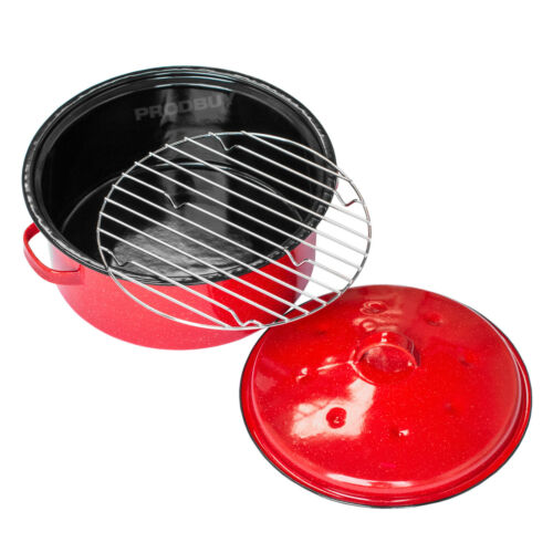 Red Enamel 4.5 Litre Self Basting Roasting Tin Dish Roaster with Lid Oven Tray