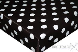 Noir Polka Dot PVC Nappe Vinyle Toile Cirée Cuisine Table de salle à manger