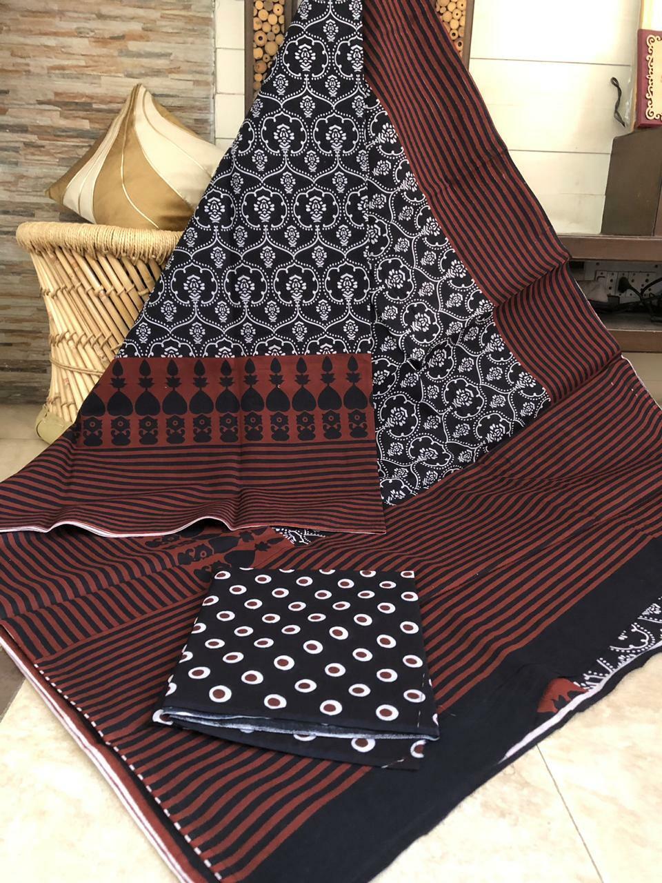 Designer Women Handmade Print Cotton Saree & Blouse Piece - (IS-34)