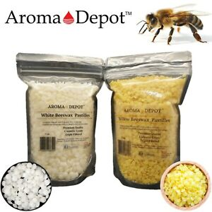PURE-100-Natural-BEESWAX-Yellow-White-PASTILLES-BEADS-PELLETS-Candles-Chapstick