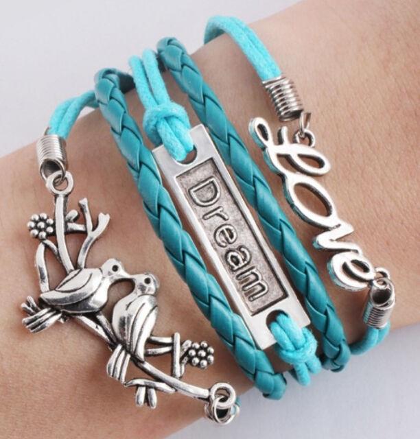 NEW DIY Style Jewelry fashion Leather Cute Infinity Charm Bracelet Silver SL175