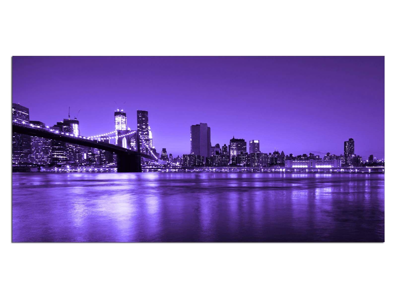 Deco Glass Picture EG4100500355 NEW YORK BRIDGE PURPLE Size 39,37  x 19,68  HD P