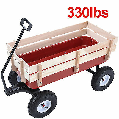 330lbs Outdoor Wagon Pulling Kid Children Garden Cart with Wood Railing Red