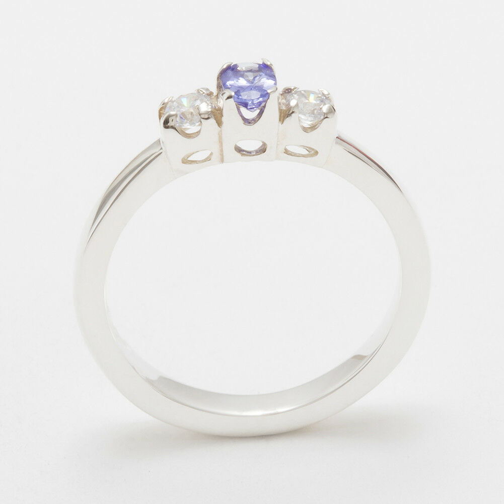 18k White gold Natural Tanzanite & CZ Womens Trilogy Ring - Sizes 4 to 12