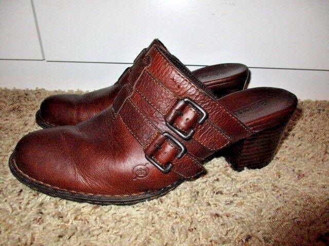 BORN  MULES CLOGS Heels DOUBLE Buckle HARNESS W's 10  EU 42 BROWN