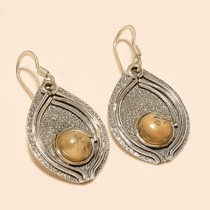 Natural-African-Mountain-Agate-Shield-Earrings-925-Sterling-Silver-Fine-Jewelry