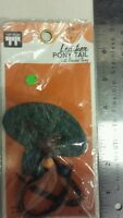 Vintage Ponytail Holder Leather With Beaded Thong Unique Old Retro Item Nice