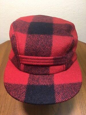 Filson Double Mackinaw Buffalo Plaid Wool Hat Cap Insulated L Shearling Flaps