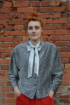Cosciente Blazer Giacca Camicia Blouse Jacket Discoteca Secretary 80er True Vintage Sylvester 80s-mostra Il Titolo Originale