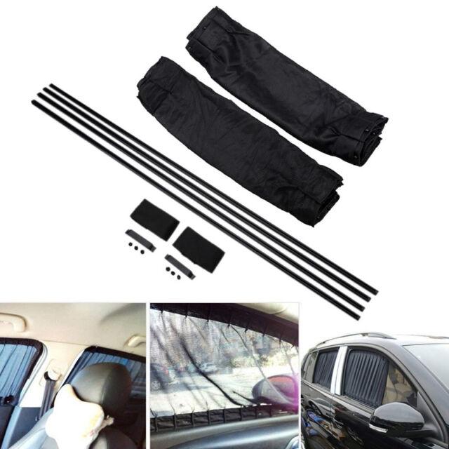 2X 70cm Adjustable Car SUV Window Anti-UV Sun Shade Drape Visor Curtains Valance