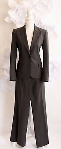 THEORY Women's 2-Piece Wool Jacket & Pant Suit Sz 10/8 Gray One-Button Lined