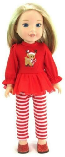 Red Rudolph Top /& Striped Leggings for American Girl Wellie Wishers Doll Clothes