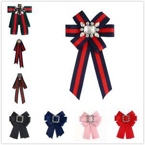 Damen-Schleifenbrosche-Streifen-Strass-Perle-Schmuckbrosche-Kleid-Blusen-Brosche