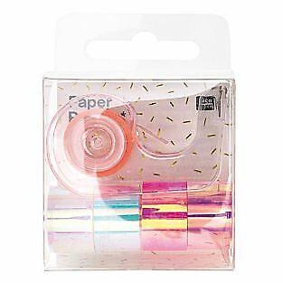 5 mini masking tapes iridescent miroir blanc et rose 1,2 cm x 1,8 m
