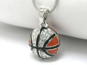 New crystal basketball pendant necklace white gold plated ebay image is loading new crystal basketball pendant necklace white gold plated mozeypictures Images