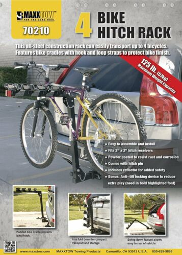 4 Bicycle Bike Hitch Mount Carrier Rack 2-Inch Receiver Car Truck Trailer Fits 4