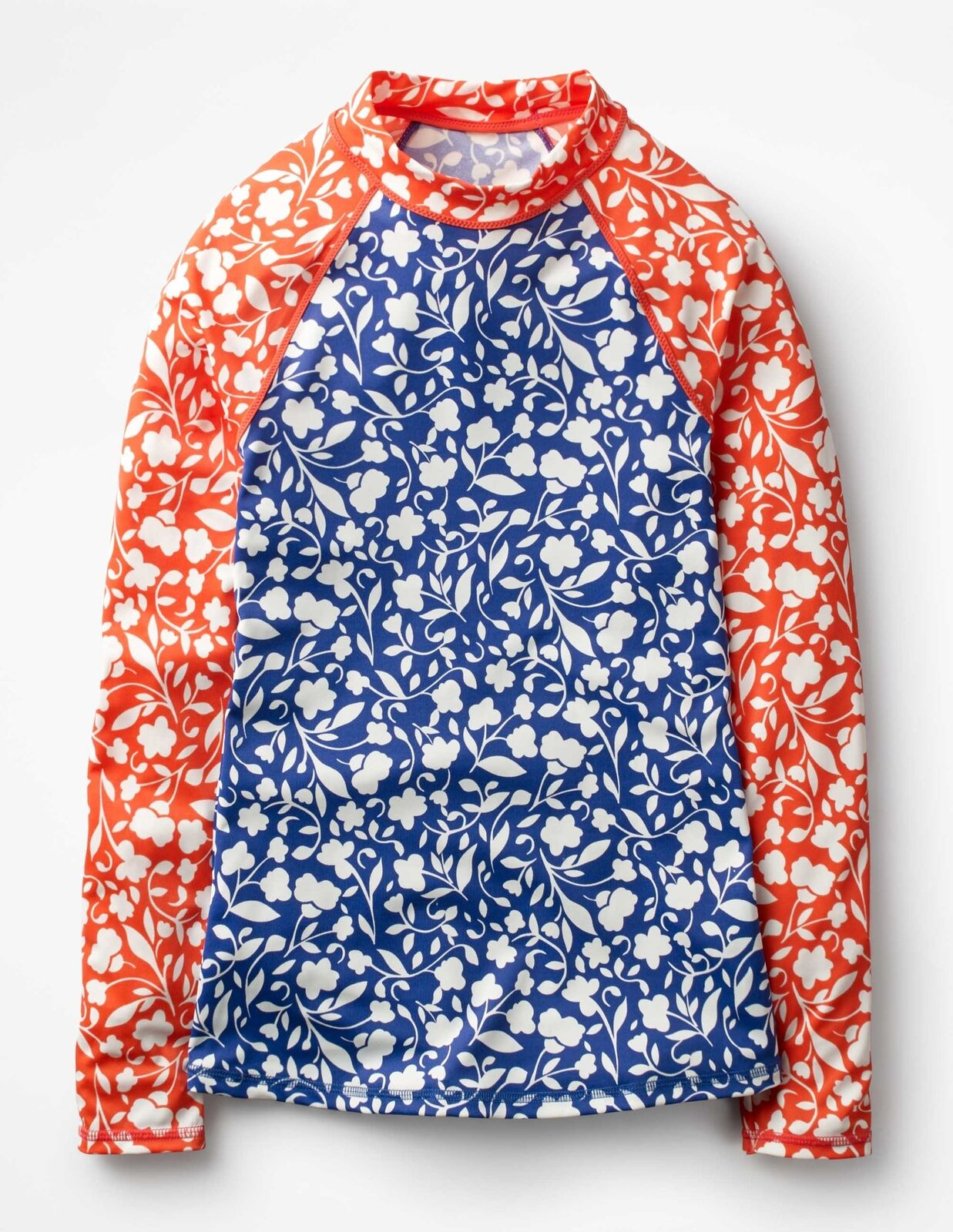 NWOT Women's BODEN BODEN BODEN US 14 Swim Sun Shirt Rash Guard bluee Pink Floral Hotchpotch fd32dd