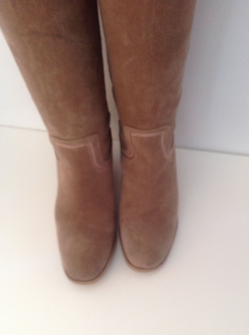 Bertie Light Taupe Suede Knee High Size 3 (36) Boots With Distressed Toes