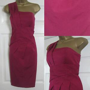 NEW-Alexon-Shift-Party-Dress-Occasion-One-Shoulder-Deep-Red-Sz-8-20-125