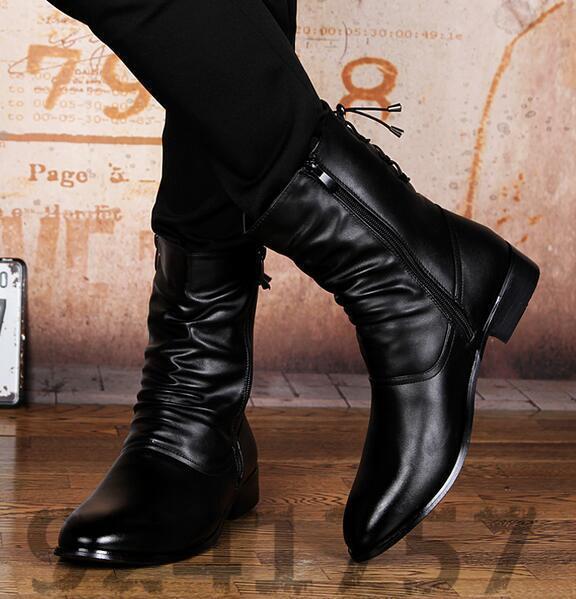 Original Herrenmode High Top Schuhe Cowboystiefel Stiefeletten NEU Gr:37-44