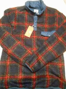 Southern-Proper-Navy-Plaid-Quarter-Button-Fleece-Pullover-NWT-Small-149-50