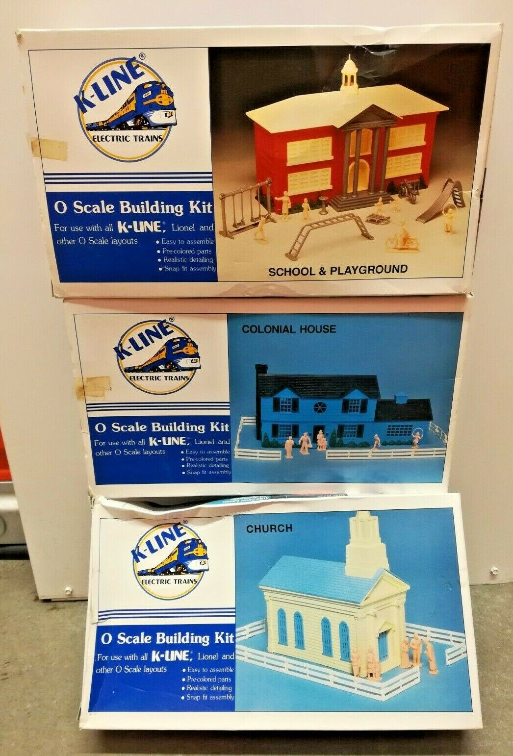 3 Set Vintage K-Line Church Colonial House School & Playground Building Kits NIB