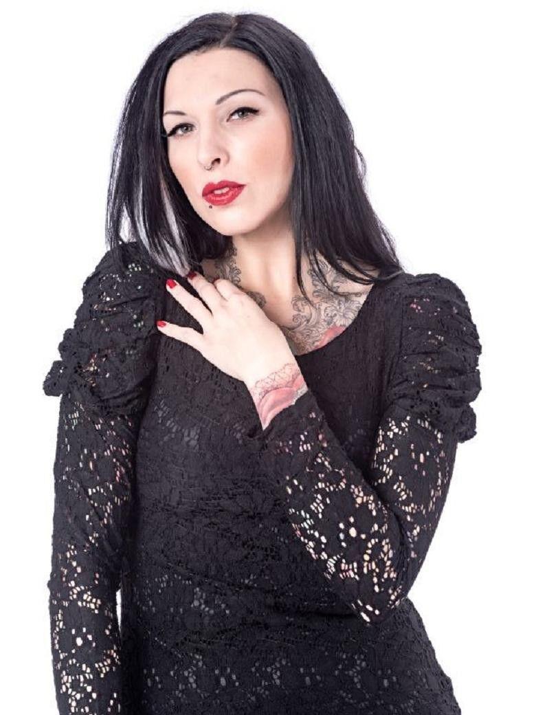 Damen Spitzen Kleid kurz m Puffärmeln schw. versch. Größen Queen of Darkness