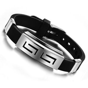 Mens-Black-Punk-Rubber-Stainless-Steel-Wristband-Clasp-Cuff-Bangle-Bracelet-Gift
