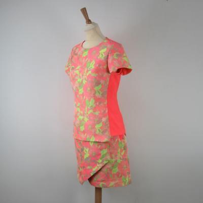 Ausdrucksvoll Ted Baker 2pc Coral Pink / Neon Green Floral Top & Skirt Outfit, Ted 2 (uk 10) GüNstigster Preis Von Unserer Website