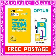 OPTUS◉$30 SIM CARD Prepaid 3G 4G◉Voice Call Text Data◉ROLLOVER◉FULL-MICRO-NANO◉