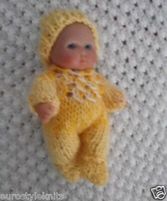 "Doll Clothes Yellow Hand Knitted Sleeper footed set fit Berenguer Baby 5"" ooak 6"