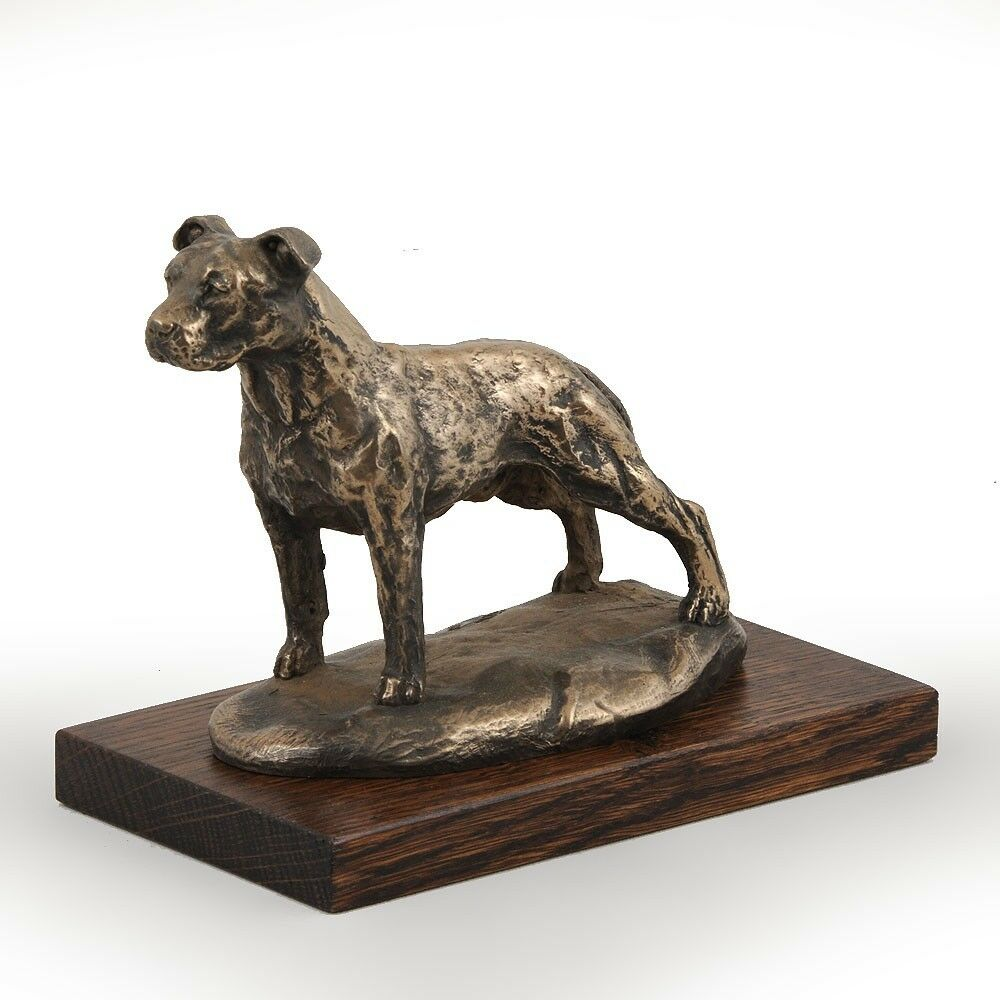 Amstaff  dog figurine on wooden base, high quality, Art Dog