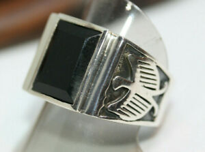 New-Cast-Men-039-s-6-CT-Faceted-Natural-Rectangular-Onyx-925-Silver-Eagle-Ring-Sz-13