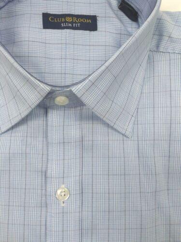 Club Room Slim Fit Blue Glen Plaid 100/% Cotton Dress Shirt 17.5 34//35 Easy Care