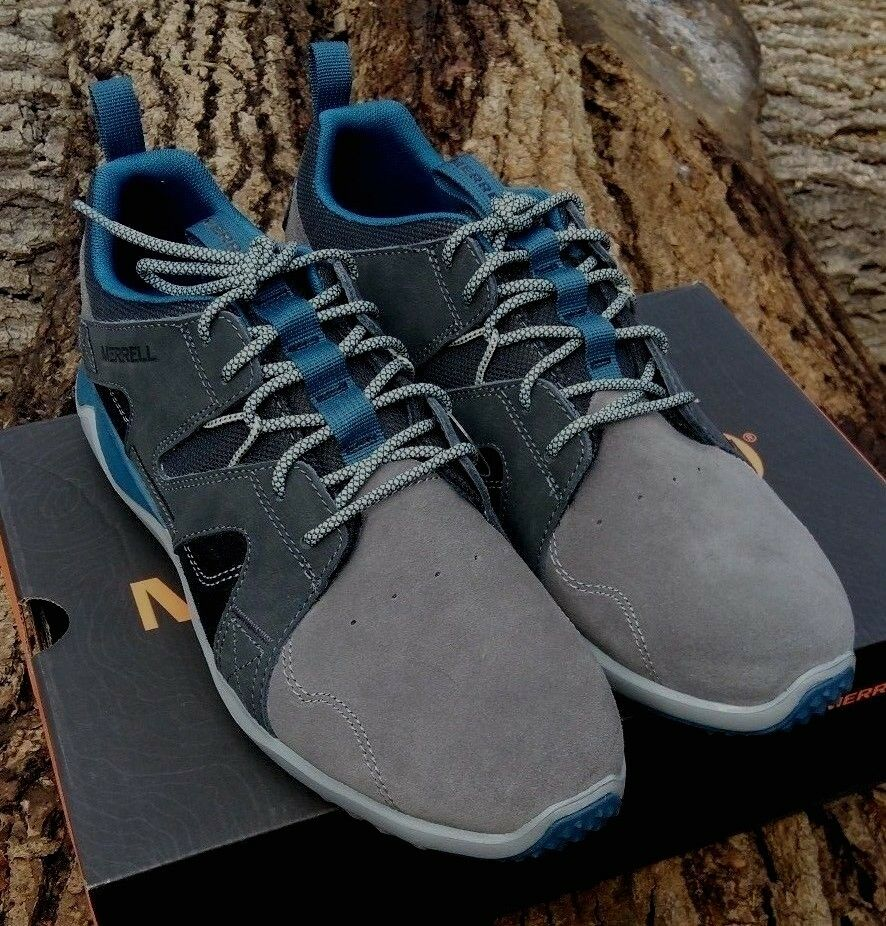 Men's Merrell 1SIX8 Lace LTR Charcoal Suede & Mesh Trainers