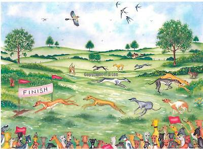 Whippet greyhound  dog  Race Watercolour//ink....52 dogs