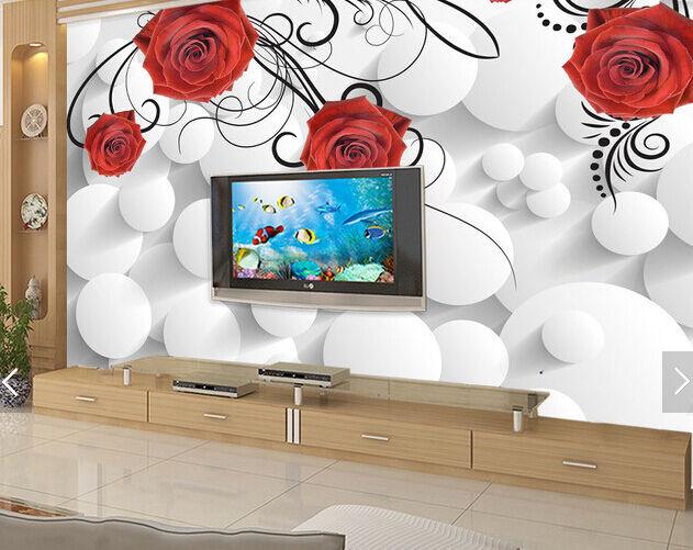 3D Weiße Kugel, Rose 277 Fototapeten Wandbild Fototapete BildTapete Familie