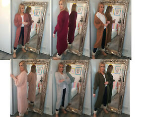 Ladies-Warm-Knitted-Balloon-Sleeve-Maxi-Long-Open-Front-Cardigan-Size-8-26