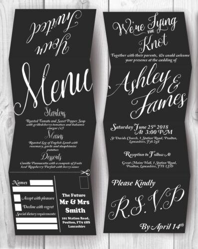 Personalised HANDMADE Elegant Wedding Day Invites Evening Invitations Envelope
