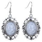 Hollow Out Silver Plated Oval White Turquoise Women Hook Earrings Gems Jewelry