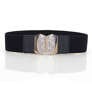 Ladies Stretch Elasticated Waist Belt Diamante Buckle for Fashion 65mm Wide 484
