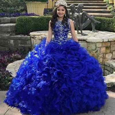 Sweet 15 16 Royal Blue Beaded Quinceanera Dress Ball Gowns Prom Debutante Dress 885841011213 Ebay